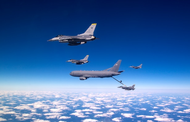 931st ARW KC-46A flies over the Republic of Korea