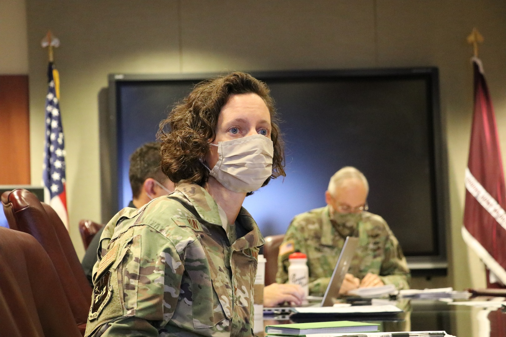 U.S. Air Force Col. Heather Yun, Deputy Commander for Medical Services, Brooke Army Medical Center, answers COVID-19 questions during a video teleconference with Argentine Army doctors, Oct. 21, 2020. Yun was part of a BAMC panel of medical professionals discussing lessons learned with a like panel of Argentine Army doctors to provide a compilation of best practices in response to the COVID-19 pandemic and other health-related topics. (U.S. Army photo by Robert A. Whetstone)