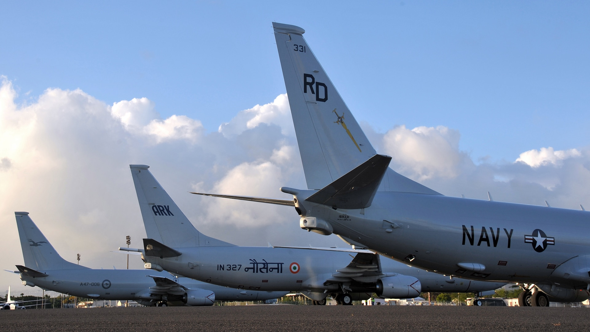 U.S. Navy, Indian Navy, and Royal Australian Air Force P-8 Poseidons staged at Joint Base Pearl Harbor-Hickam