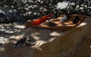 Items used for an Earth-based faith are placed on a rock in a newly built sacred space at Ali Al Salem Air Base, Kuwait, Oct. 26, 2020.
