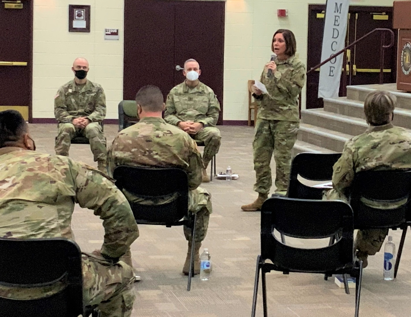 Col. Caryn Vernon, U.S. Army Medical Center of Excellence G3, outlined the purpose and way ahead for the program during a MEDCoE Leader Professional Development session on the Foundations of Leadership at the Blesse Auditorium at Joint Base San Antonio-Fort Sam Houston Oct. 28. The event was attended by nearly 100 virtual and in-person attendees, using COVID-19 mitigation measures.