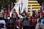 Dancers performing as part of the Kiowa Black Leggings Warrior Society