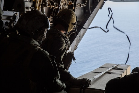 U.S. Marines with Marine Medium Tiltrotor Squadron 163, Marine Aircraft Group 16, 3rd Marine Aircraft Wing, prepare to deploy an oceanographic sensor at the Pacific Ocean, Calif., Oct. 13, 2020.