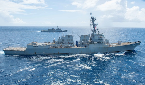 USS William P. Lawrence (DDG 110) and the Brazilian navy training ship BNS Brasil (U 27) conduct a passing exercise.