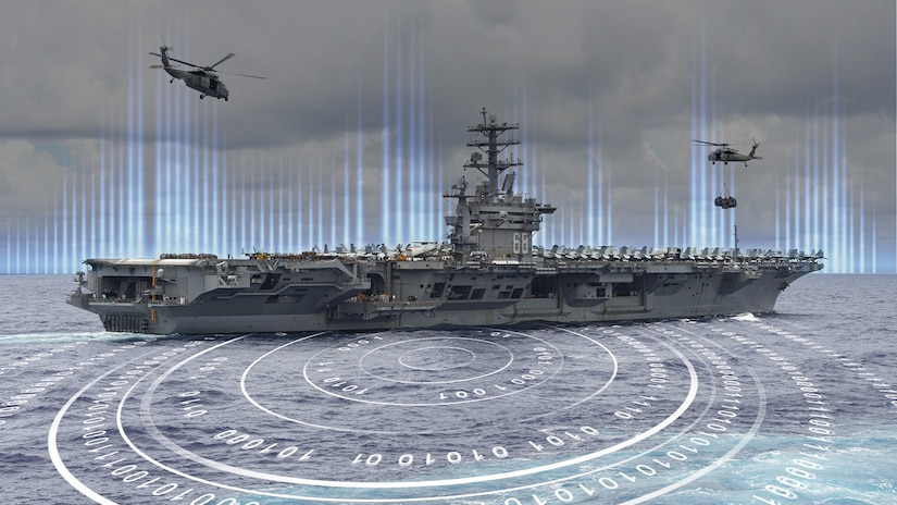 An illustration showing two helicopters hovering over an aircraft carrier at sea.