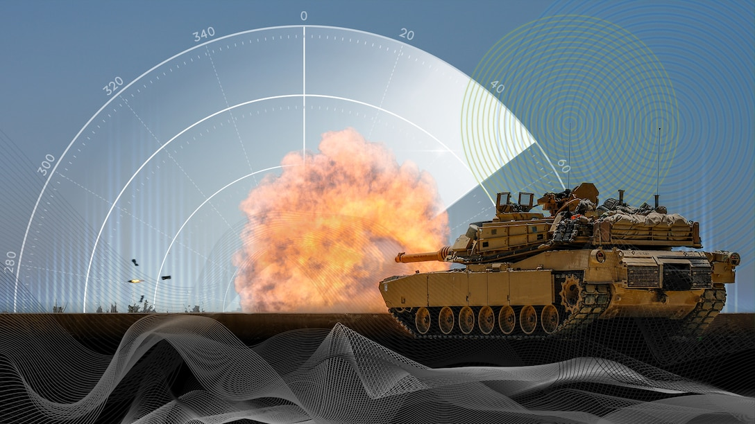 An illustration showing a tank firing its cannon.