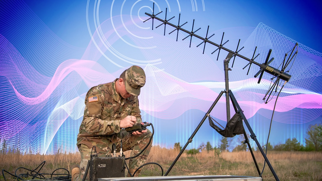 An illustration depicting a soldier kneeling in the grass and operating electronic equipment.
