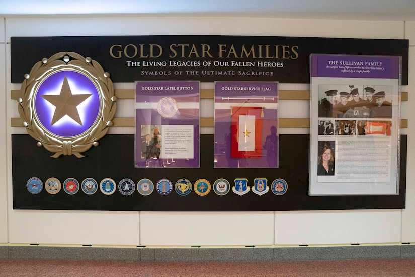 "A photograph shows a display with the heading ""Gold Star Families."""