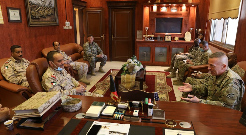 U.S. Army Major General Steven Ferrari met with Kuwait Land Forces Brigadier General Khaled A. Al-Shualah, Oct. 22, 2020, in Kuwait. The Ferrari, the Commander of Task Force Spartan, and Al-Shualah, the Commander of the Kuwait Land Forces Artillery Regiment, met during a key leader engagement at the KLF Artillery Regiment. (U.S. Army photo by Sgt. Trevor Cullen)