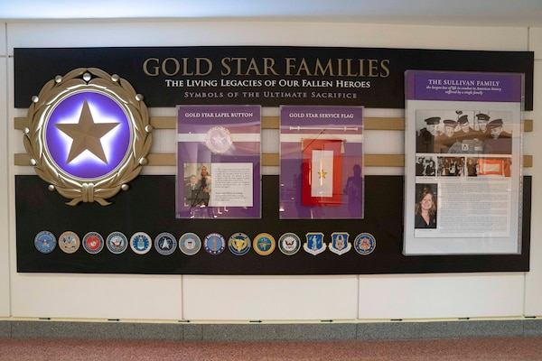 """A photograph shows a display with the heading """"Gold Star Families."""""""