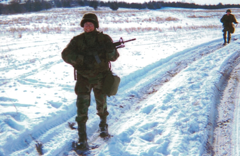 Mary Lohnes, on patrol during a winter exercise while an Active Guard Reservist with Nebraska Army National Guard. She is now a master sergeant in the Missouri Air National Guard's 139th Airlift Wing Communications Flight.