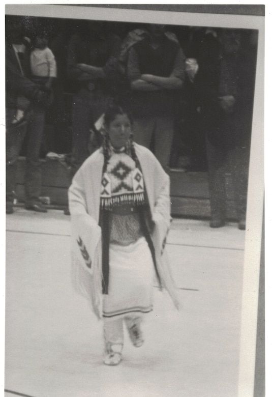 Air Force Master Sgt. Mary Lohnes Dressed in traditional Native American regalia to attend a Wacipi in Cannon Ball, North Dakota, while on leave from the U.S. Army.