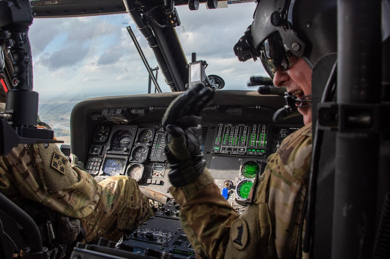 A U.S. Army pilot flies a UH-60 Black Hawk during an incentive flight in New Castle, Delaware, Oct. 21, 2020, for wing-level award recipients. The Army Aviation Support Facility has been providing this incentive since March 2020.
