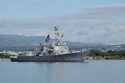 The guided-missile destroyer USS Halsey (DDG 97) returns to its homeport of Joint Base Pearl Harbor-Hickam following a successful seven-month deployment to U.S. 4th and U.S. 7th Fleet area of operations.