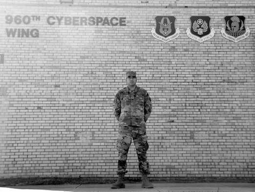 Tech. Sgt. Dominic CalvilloGonzales, 426th Network Warfare Squadron operations training specialist, stands for a photograph Oct. 28, 2020, at Joint Base San Antonio-Chapman Training Annex, Texas. (U.S. Air Force photo by Samantha Mathison)
