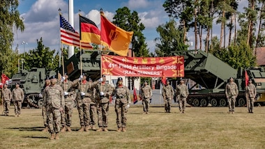 The 41st Field Artillery Brigade plans, prepares, executes, and assesses operations to provide U.S. Army Europe close support and long range precision strike employing organic, joint, and multinational fires and non-kinetic capabilities to achieve distributed effects across Europe in support of commanders' operational and tactical objectives.