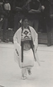 Mary Lohnes at 18, wearing traditional Native American Regalia, prior to joining the Army