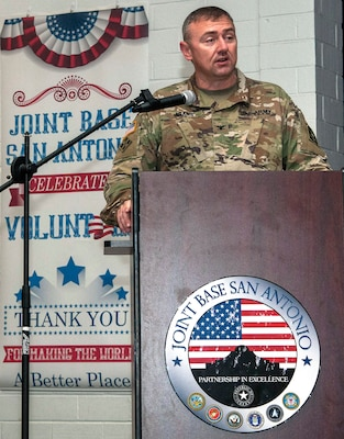Col. Steven J. Adams, Chief of Staff, US Army North, provides opening remarks at the Joint Base San Antonio Volunteer of the Year Awards ceremony at the JBSA-Fort Sam Houston Military &Family Readiness Center Oct. 28.