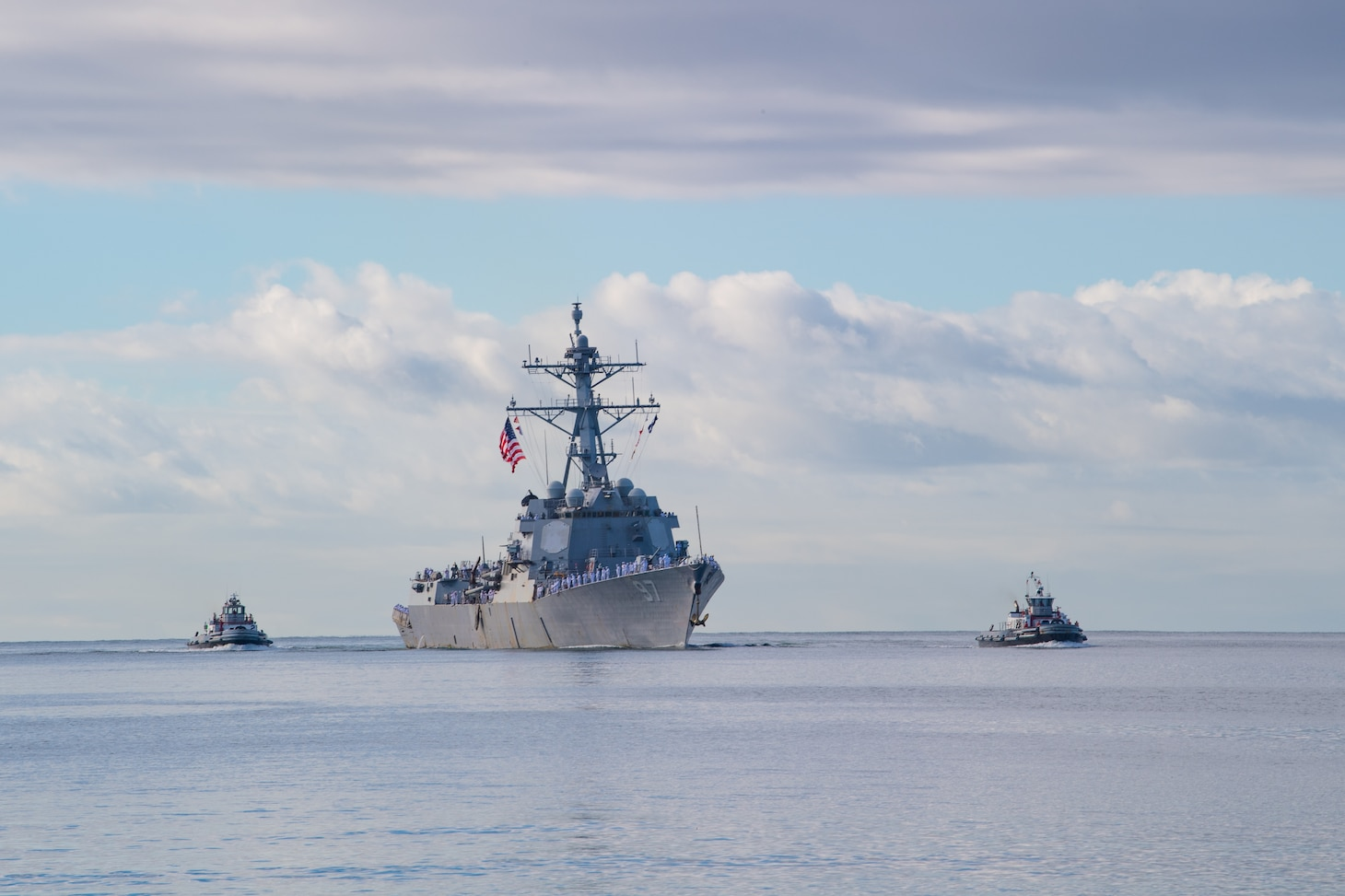 Guided-missile destroyer USS Halsey (DDG 97) returns to its homeport of Joint Base Pearl Harbor-Hickam