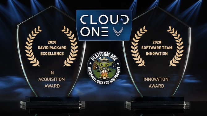 Multiple Hanscom-based teams and individuals were recognized by the Department of Defense with 2020 Defense Acquisition Workforce Awards for excellence in contracting, acquisitions, and software development. For C3I&N, the Cloud One and Platform One Teams won both the Software Innovation Team Award and the David Packard Excellence in Acquisition Award; for Digital, Melissa Kennedy won the Individual Achievement Award for Services Acquisition. (Graphic by the Department of Defense)