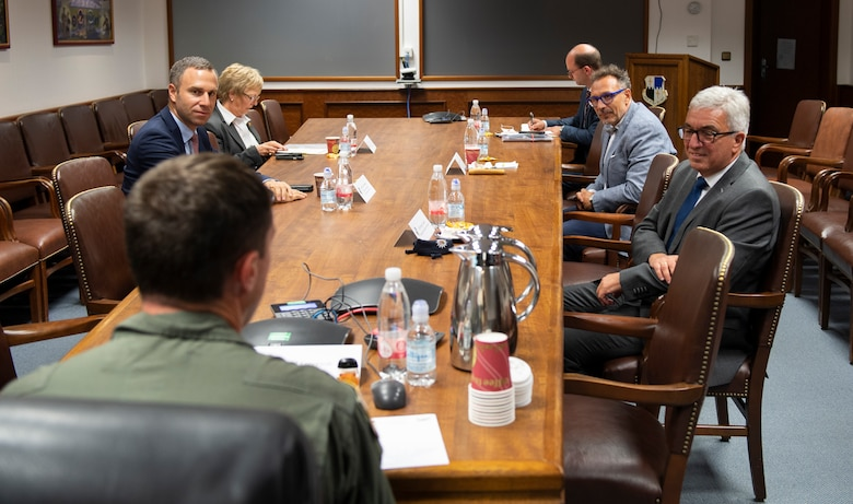 U.S. Air Force Col. David Epperson, 52nd Fighter Wing commander, meets with members of the German Parliament at Spangdahlem Air Base, Germany, Aug. 28, 2020. The Wing hosted Roger Lewentz, Minister of the Interior for the State of Rheinland-Pfalz, and presented a mission brief of Spangdahlem AB's goals and operations. (U.S. Air Force photo by Airman 1st Class Alison Stewart)
