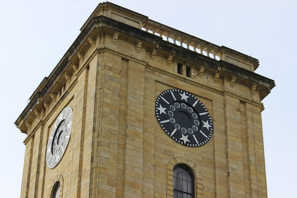 The hands of the clock at the top of the Rock Island District's historic Clock Tower have been removed as part of an extensive restoration and preservation process.
