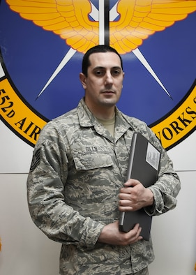 Tech. Sgt. Jason Gillo, a 552nd Air Control Networks Squadron software development lead, created the design of the Micro Ground System. The new software product, which is housed on a USB, saves the Air Force about $900,000 and removes the need to palletize and psychically safeguard 12,000 pounds of equipment (U.S. Air Force photo by 1st Lt. Ashlyn K. Paulson).