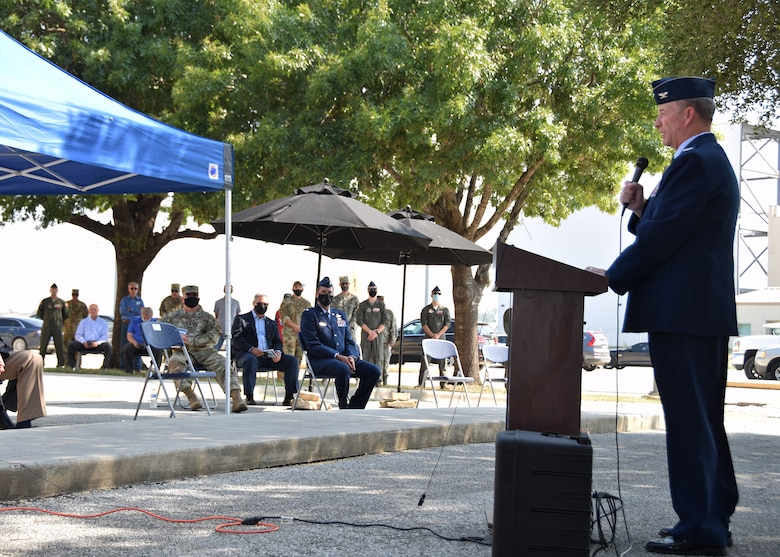 Col. Terry W. McClain, 433rd Airlift Wing commander, makes opening remarks during a remembrance and wreath laying ceremony for mission BRAVO-12 Aug. 28, 2020 at Joint Base San Antonio-Lackland, Texas.