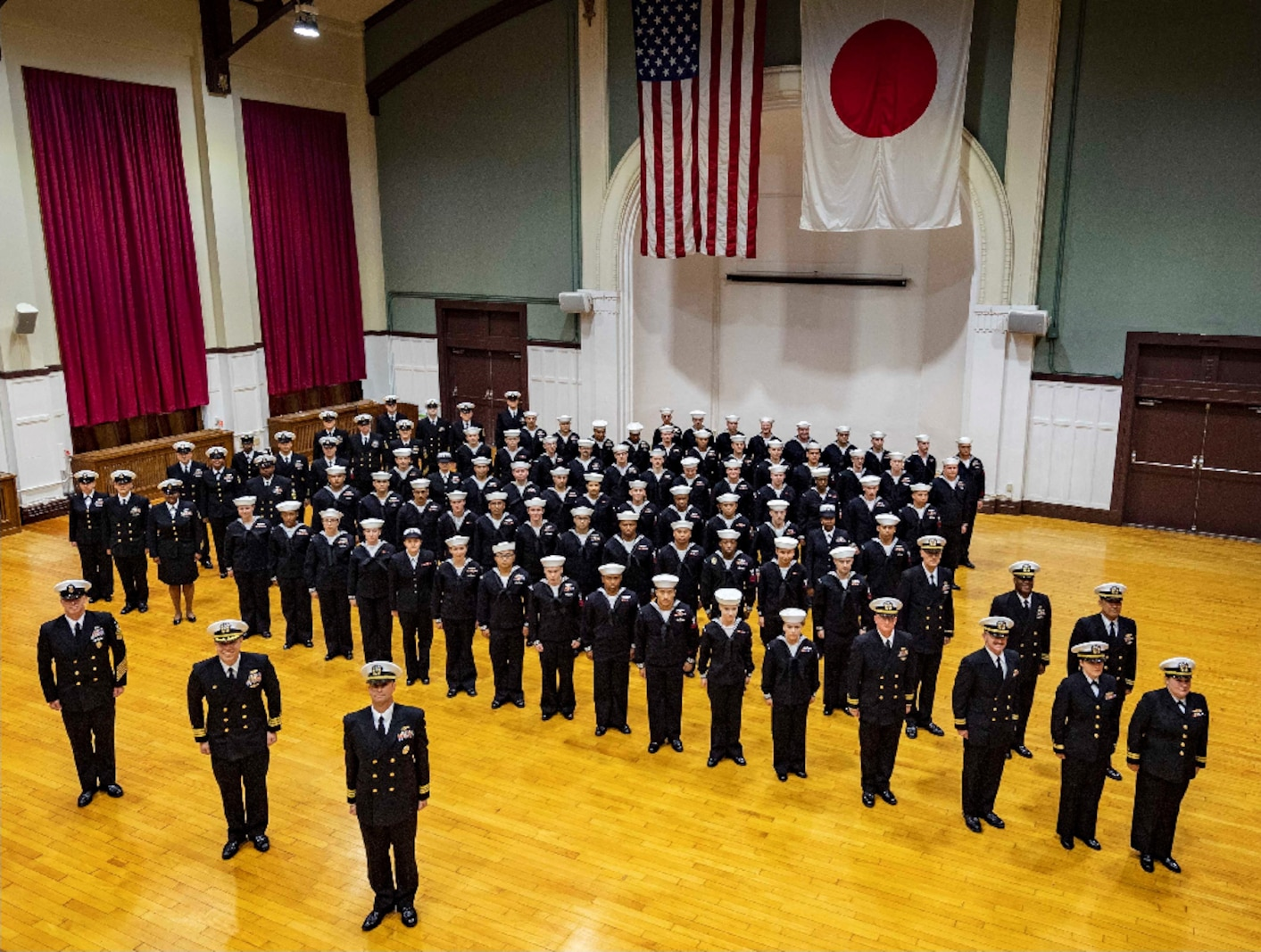 Sailors of U.S. Navy Information Operations Command (NIOC) located in Yoosuka, Japan, stand in formation.