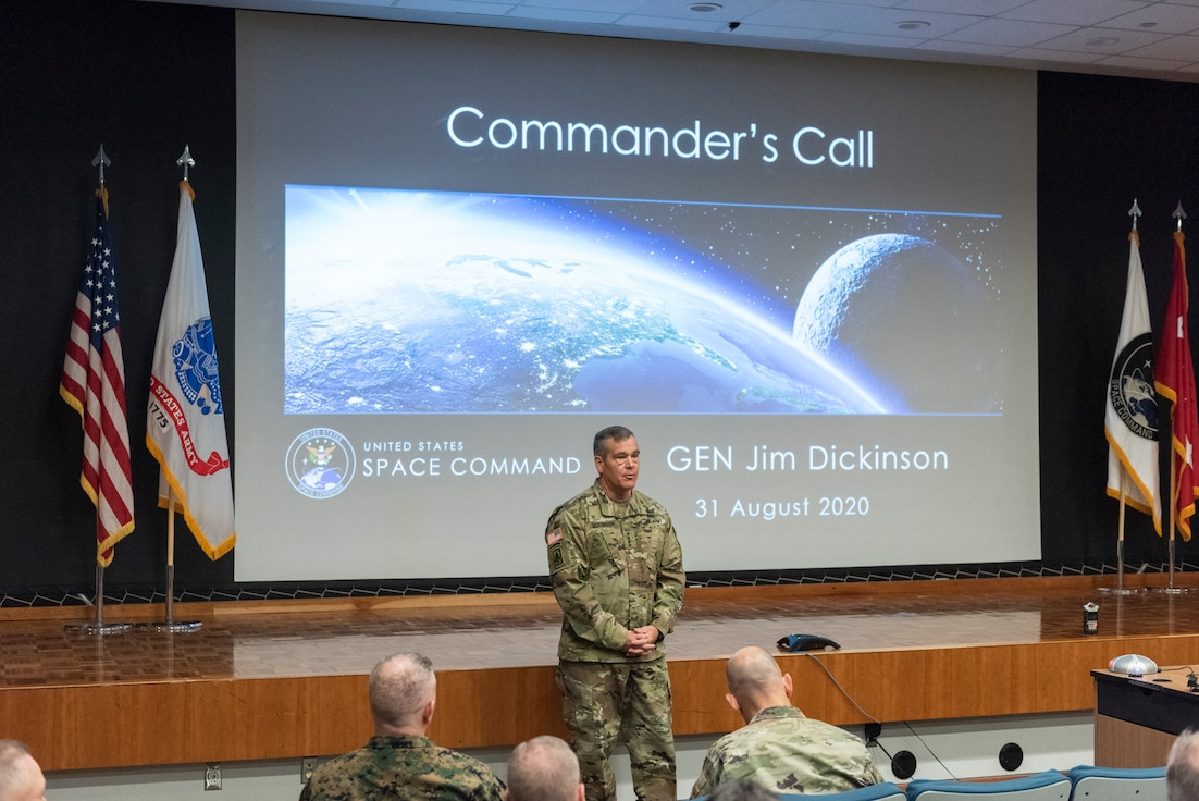 U.S. Army Gen. James Dickinson addresses the USSPACECOM on Aug. 31 for the first time since taking command Aug. 20 at Peterson Air Force Base.