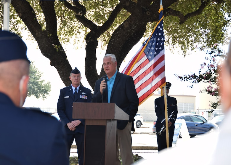 Retired Col. Jimmie Brooks speaks at the BRAVO-12 remembrance and wreath laying ceremony Aug. 28, 2020 at Joint Base San Antonio-Lackland, Texas.