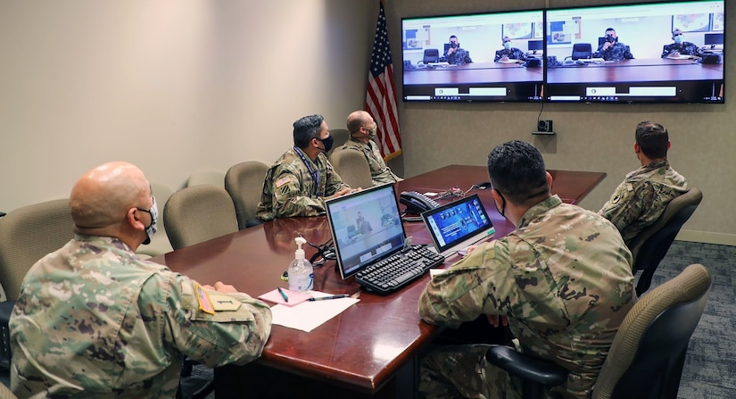 Personnel from the U.S. Army South Security Cooperation Division, listen in during the Central America Working Group virtual meeting held Aug. 24-28.