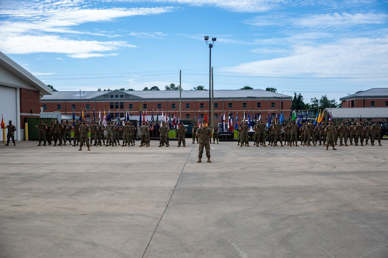 U.S. Marines with Fox Company, 4th Tank Battalion, 4th Marine Division, stand in formation during the company's deactivation ceremony on Marine Corps Base Camp Lejeune at Stone Bay, North Carolina, Aug. 25, 2020. Gen. David H. Berger, the commandant of the Marine Corps, passed down Marine Corps Force Design 2030 in March 2020, which designates tanks as a large area of divestment. (U.S. Marine Corps photo by Lance Cpl. Christian Ayers)