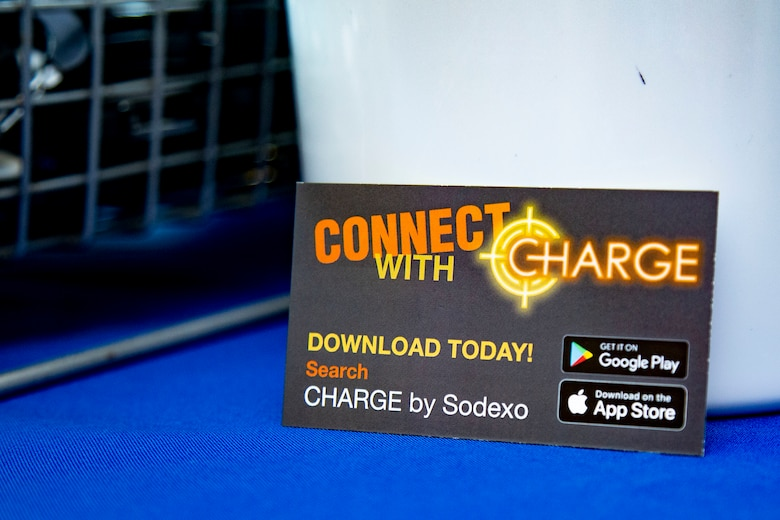 Sodexo hosts an event for the release of their new mobile app called Charge by Sodexo, at the French Creek 65 Mess Hall on Marine Corps Base Camp Lejeune, North Carolina, Aug. 24, 2020. Charge by Sodexo is a free mobile app available on the Google Play Store and Apple App Store and features mess hall searching capability through geo-location or installation name and mess hall number which allows users to view local menus for specialty bars, caloric intake information, nutrition facts and feedback. (U.S. Marine Corps photo by Lance Cpl. Ginnie Lee)