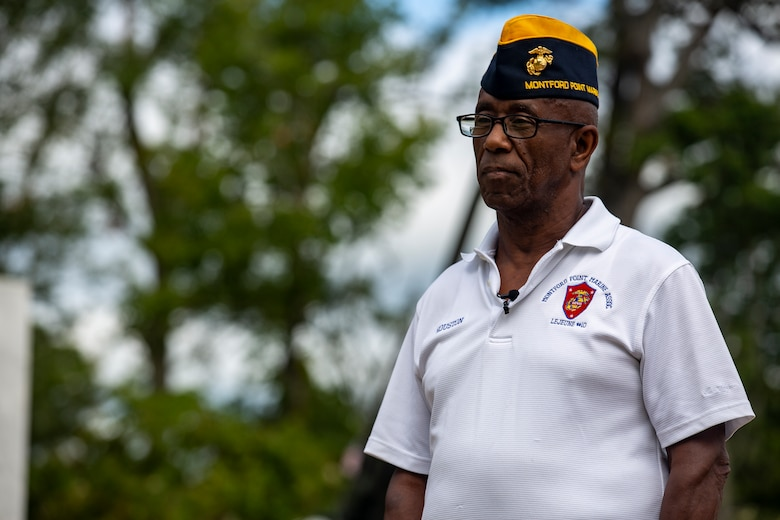 Houston Shinal, the previous national monument director for the National Montford Point Marine Association, conducts an interview about the Montford Point Marines at the Montford Point Marines Memorial in Jacksonville, North Carolina, Aug 17, 2020. This year marks the 78th anniversary of when the first African-American recruits arrived on Montford Point in 1942 for Marine Corps recruit training and paving the way for approximately 20,000 African-Americans over the next 7 years to earn the title of Marine. (U.S. Marine Corps photo by Lance Cpl. Isaiah Gomez)
