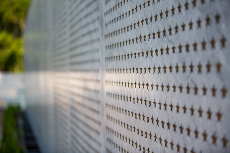 A wall of stars representing the approximately 20,000 African-Americans that went through Marine Corps boot camp at Montford Point stands at the Montford Point Marines Memorial in Jacksonville, North Carolina, Aug. 26, 2020. The wall honors the Montoford Point Marines whose dedicated service to the Marine Corps influenced acceptance and diversity in the armed forces. This year marks the 78th anniversary of when the first African-American recruits arrived on Montford Point in 1942 for Marine Corps recruit training. (U.S. Marine Corps photo by Lance Cpl. Isaiah Gomez)