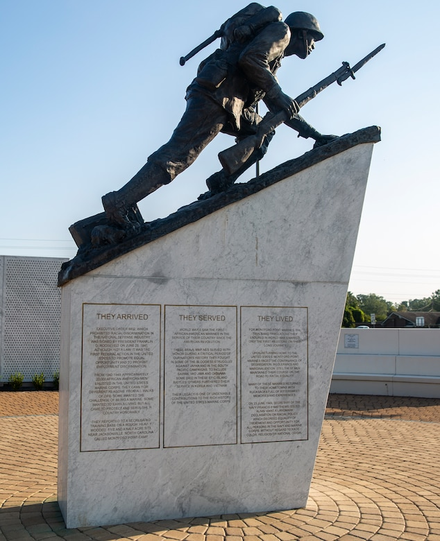 The Montford Point Marine Sculpture that signifies the Montford Point Marines' transition to infantry men from their assigned duties as ammunition suppliers and other support roles, stands at the Montford Point Marines Memorial in Jacksonville, North Carolina, Aug. 26, 2020. This year marks the 78th anniversary of when the first African-American recruits arrived on Montford Point in 1942 for Marine Corps recruit training, paving the way for approximately 20,000 African-Americans over the next 7 years to earn the title of Marine. (U.S. Marine Corps photo by Lance Cpl. Christian Ayers)