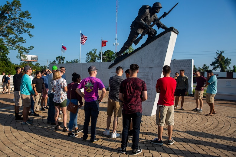 U.S. Marines with 2nd Marine Logistics Group attending the Corporal's Leadership School on Marine Corps Base Camp Lejeune visit the Montford Point Marines Memorial in Jacksonville, North Carolina, Aug. 26, 2020. This year marks the 78th anniversary of when the first African-American recruits arrived on Montford Point in 1942 to conduct Marine Corps recruit training, paving the way for approximately 20,000 African-Americans over the next 7 years to earn the title of United States Marine. (U.S. Marine Corps photo by Lance Cpl. Christian Ayers)