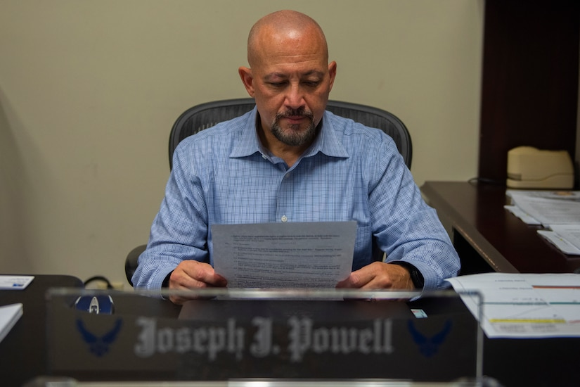 Joseph Powell, the 628th Air Base Wings privatized housing resident advocate, reviews documents Sep. 1, 2020 at Joint Base Charleston, S.C. The position was created in the fiscal year 2020 with the intention of providing an advocate for the residents of a military base to help them get issues resolved.