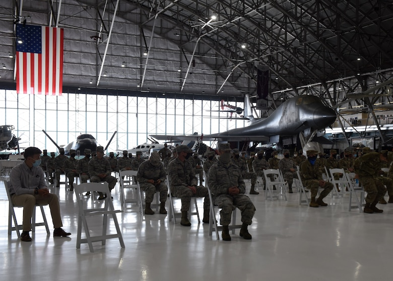 Members from the 11th Space Warning Squadron wait for the Induction into the U.S. Space Force Ceremony to begin at Wings Over the Rockies Air and Space Museum in Denver Sept. 1, 2020. Approximately 60 members from 11 SWS were inducted into the USSF. (U.S. Air Force photo by Airman 1st Class Haley N. Blevins)