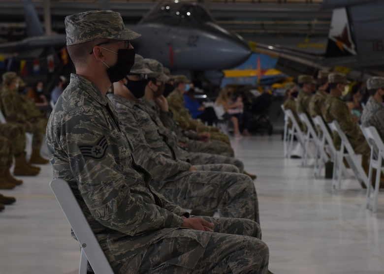 Members from the 11th Space Warning Squadron participate in the Induction into the U.S. Space Force Ceremony at Wings Over the Rockies Air and Space Museum in Denver, Sept. 1, 2020. These space professionals will join the 90 other service members that are already in the USSF. (U.S. Air Force photo by Airman 1st Class Haley N. Blevins)