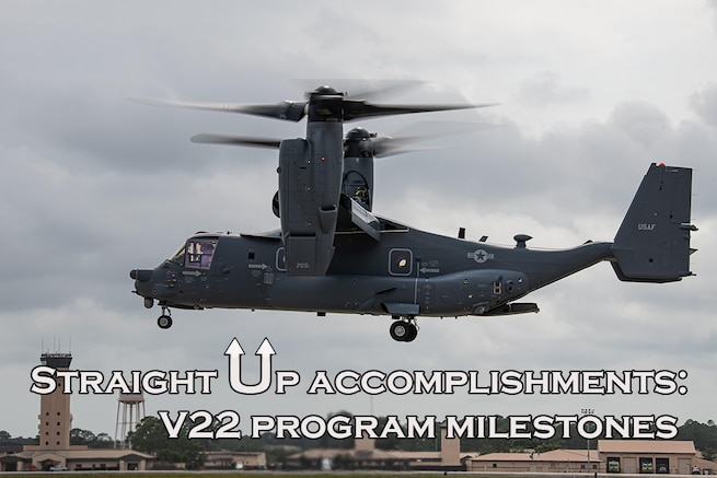 "Graphic of V-22 Osprey taking off with text: ""Straight-up accomplishments: V-22 program lands multiple milestones."""