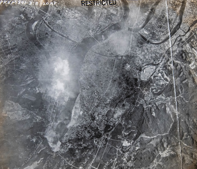 An aerial photo of Hiroshima showing the destruction caused the atomic bomb on Aug. 6, 1945.