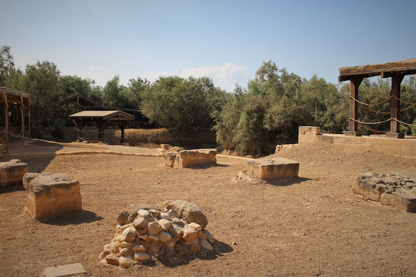 The Baptism Site of Jesus Christ, maintained by the Government of Jordan's Baptism Site Commission. With COVID-19 safety measures in place, the Area Support Group-Jordan Unit Ministry Team has provided Spiritual Resiliency Trips for service members stationed in Jordan. The U.S. military is in Jordan to partner with the Jordan Armed Forces to meet common security objectives in the region.
