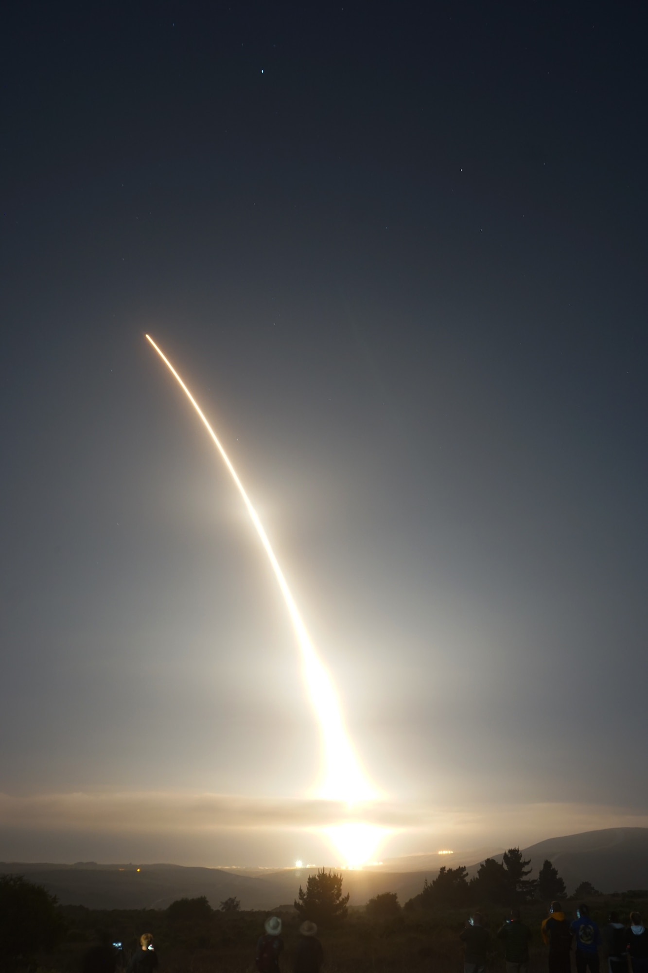 An Air Force Global Strike Command unarmed Minuteman III intercontinental ballistic missile launches during an operational test at 12:03 Pacific Daylight Time (Wednesday, September, 2020), at Vandenberg Air Force Base, California. ICBM test launches demonstrate the U.S. nuclear enterprise is safe, secure, effective and ready to defend the United States and its allies. ICBMs provide the U.S. and its allies the necessary deterrent capability to maintain freedom to operate and navigate globally in accordance with international laws and norms. (Courtesy photo by Connor Riley)
