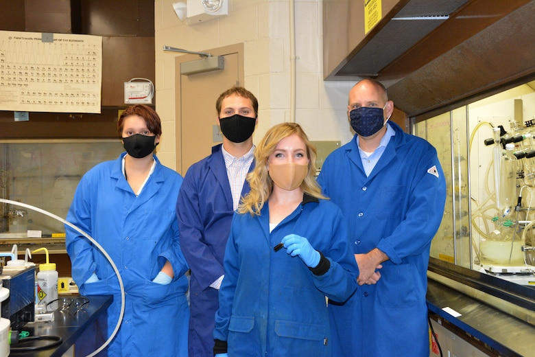 Members of the Ceramic Materials and Processing Research Team, from left to right: Ms. Christina Thompson, Dr. Dayton Street, Dr. Kara Martin and Dr. Matthew Dickerson. (U.S. Air Force photo/Karen Schlesinger)