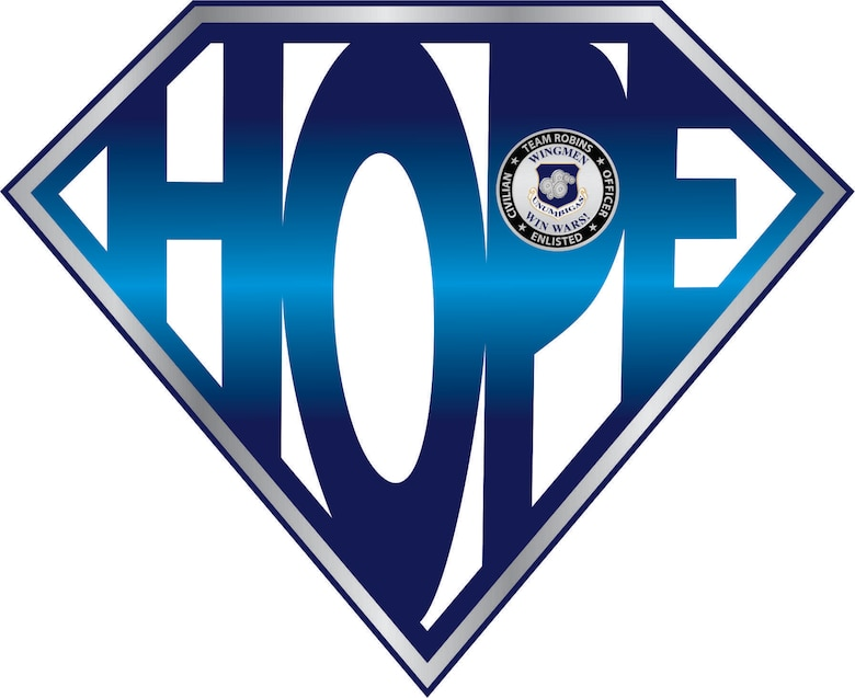 "Graphic shows ""HOPE"" in a diamond shape."