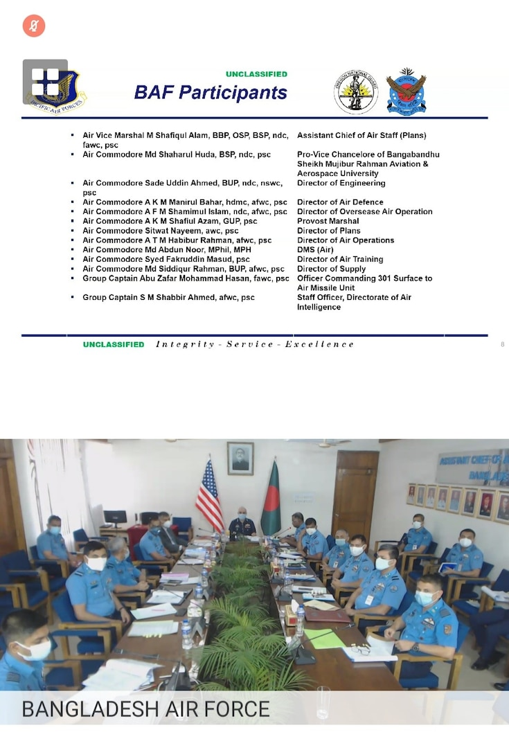 Bangladesh, US air forces conduct first virtual Airman-to-Airman Talks together