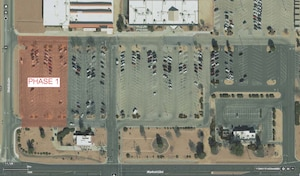 Overview of Phase 1 of the commissary and base exchange parking lot repair project. (Graphic courtesy of 412th Civil Engineer Group)