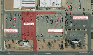 Overview of Phase 2 of the commissary and base exchange parking lot repair project. (Graphic courtesy of 412th Civil Engineer Group)